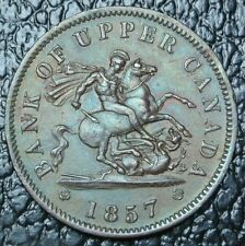 1857 ONE PENNY BANK TOKEN -BR 719 - Dragon Slayer -Bank of Upper Canada - PC-6D