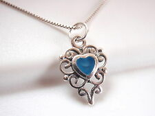 Small Chalcedony Filigree Heart Pendant 925 Sterling Silver Corona Sun Jewelry