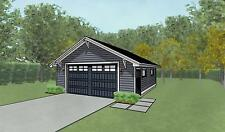 Double Car / 2 Car Garage Architectural Plans / Blueprints - 24 x 26