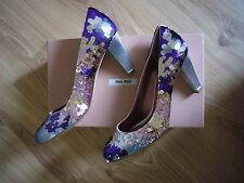 MIU MIU ITALY WOMEN Lovely shoes embroidered with sequins sz - 38 (US 8) NEW!