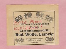 LEIPZIG, Werbung 1920, Rud. Wolle Zement-Baugesellschaft Beton-Eisen-Bau