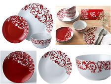 12Pc Dinner Set White & Red Ceramic Plates Bowls Service for 4 Family Dining Set