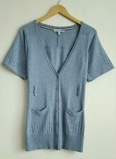 FAT FACE LADIES BLUE SHORT SLEEVE CARDIGAN TOP WITH WOOL SIZE 8