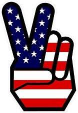 PEACE SIGN HIPPIE HAND VINYL DECAL DECALS STICKER STICKERS AMERICAN FLAG FLAGS