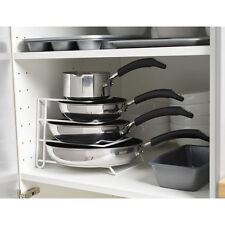 White Pan Pot Lid Rack Stand Holder Kitchen Cupboard Storage Organiser
