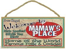 "Welcome to Mamaw's Home of the World Famous Milk Cookies 5""x10"" Grandmother Sign"