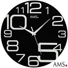 AMS 9461 Wanduhr Quarz schleichende Sekunde Mineralglas Dekouhr Quarzuhr
