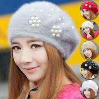 Women's Winter Warm Rabbit Fur Wool Hat Beret Beanie Flower Pearl Cap Headdress