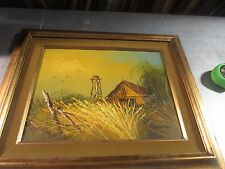 """VINTAGE SIGNED OIL ON CANVAS PAINTING CABIN 12"""" X 16"""" - 19"""" X 23"""" FRAMED"""