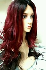 "human hair wig, red, brunette, dip dyed, lace front, real hair, 30"" long"