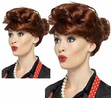 Rocking 50s Auburn Housewife Fancy Dress Wig 1950s Short Bun Retro Wig