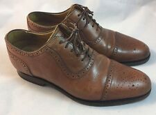 Charles Tyrwhitt Men's Brown Tan Leather Perforated Cap Toe Dress Shoes Size 6