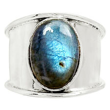 Peacock Blue Labradorite 925 Sterling Silver Ring Jewelry s.7.5 9000R