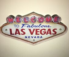 WELCOME TO LAS VEGAS LED Metal Sign Vintage Look. PERFECT FOR GAME ROOM/MAN CAVE