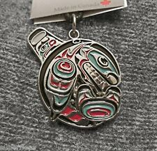 New • JOE WILSON Cowichan Coast Salish pewter Orca totem  KILLER WHALE NECKLACE