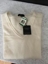 NWT charter club 100% Cashmere V Neck Sweater L in IVORY