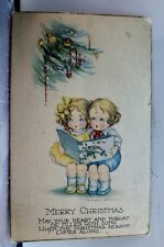 Christmas Merry Xmas Heart Throat Filled with Song Postcard Old Vintage Card PC