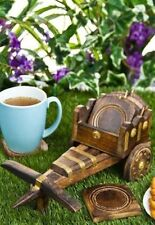 Unique Wooden bullock Cart  Tea Coffee Coaster Set Gift Item