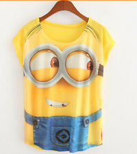 Women Girl's 3D Despicable me Minions In Yellow T-Shirt Tops Funny Xmas Gift