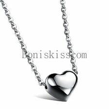 "Stainless Steel Polished Heart Charm Pendant Necklace 18"" Chain Women Girls Gift"