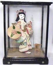 JAPANESE MAIKO OIRAN TAYU COURTESAN GEISHA KIMONO GOFUN DOLL DISPLAY CASE SIGNED
