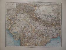 2 Landkarten Vorderindien, nördl. und südl. Teil, Lithographie, Andrees 1897