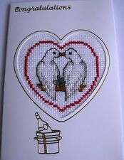 Wedding Day or Engagement Card Completed Cross Stitch Love Birds 6x4""