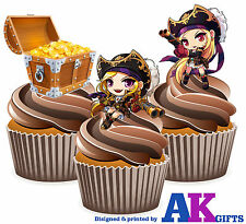Girl Pirate & Treasures Birthday Party 12 Cup Cake Toppers Edible Decorations