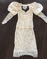 Vintage Lorrie Kabala Cache 80s Does Victorian Lace Leg Of Mutton Wedding Dress