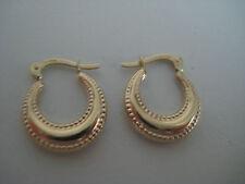 9ct oro giallo orecchini a cerchio stile creola