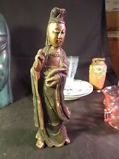 "10"" Wood Carved Chinese Figurine Made in Taiwan"