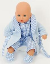 BLUE NIGHTIME SET FOR MY LITTLE BABY BORN  PJS/DRESSING GOWN/SLIPPERS