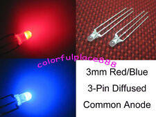 100 x 3mm Dual Bi-Color Red/Blue Diffused Bright 3-Pin Led Common Anode Leds