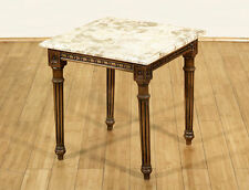 Antique Mahogany Occasional End Side Table w/ Marble Top