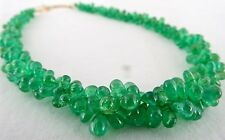 TOP 211CTS NATURAL COLOMBIAN EMERALD DROPS BRIOLETTE NECKLACE IN 18k GOLD HOOK