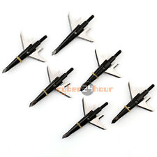 "6pcs Black Swhacker Broadheads 100Grain 1.75""Cut for Compound Bow Crossbow"