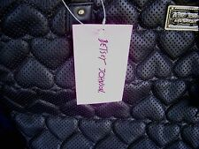 BETSEY JOHNSON BOW  PERFORATED HEART BLACK TOTE  BAG NEW W TAG