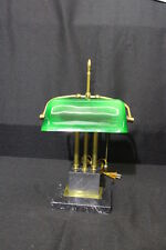 Vintage Brass & Black Marble PIANO or Banker Desktop Table Lamp w/Green Shade