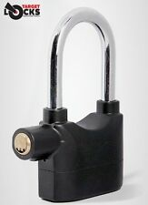 LONG SHACKLE ALARM PADLOCK - MOTION SENSOR ALARMED LOCK BIKE SHED GARAGE TOOLBOX