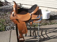 16 inch Circle Y show Saddle with breat collar and quilted storage bag carrier