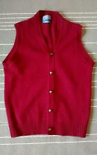 Men's Pendleton Cardigan Vest Cranberry Red Virgin Wool Medium M