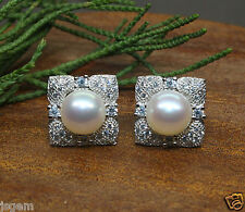 A610 Genuine AAA White Cultured Freshwater Pearl Silver Earrings CZ