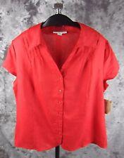 New Coldwater Creek Pintuck Linen Shirt Large Short Sleeve