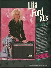 The Runaways Lita Ford 1989 Crate guitar amps ad 8 x 11 amplifier advertisement