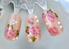 Nail Art Stickers Nail Water Decals Nail Transfers Pink Flowers Floral Roses m9