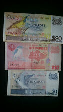 Singapore Bird $20, $10 and $1 note