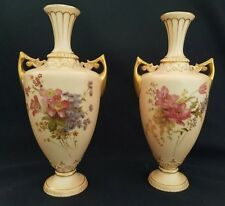 Antique Pair of Royal Worcester Hand Painted Two Handled Vases C.1903
