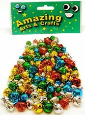 120 JINGLE BELLS IN COLORI ASSORTITI 10mm e 15mm dall' incredibile Arts and Crafts