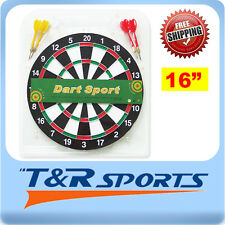 "DART BOARD SET 16"" TWO SIDE PRINTING DART BOARD & 6 X DARTS"