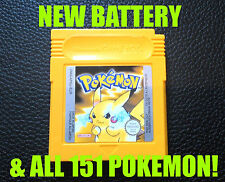 Véritable pokemon jaune version nouvelle batterie de sauvegarder toutes les 151 game boy color